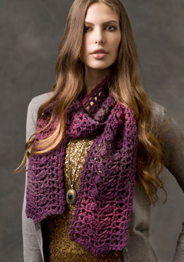 Sophisticated Scarf in Red Heart US - LW2484 - Downloadable PDF