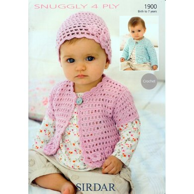 Crochet Cardigans and Hat in Sirdar Snuggly 4 Ply - 1900