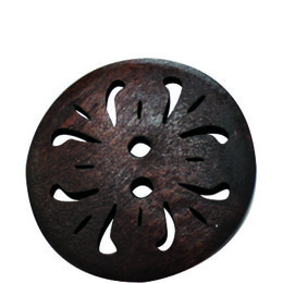 Brown Carved 25mm 2-Hole Button