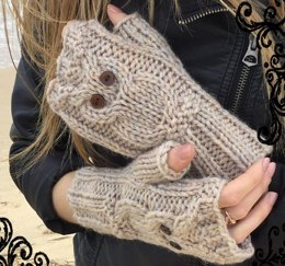 Owl fingerless mitts 5 sizes