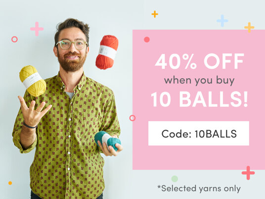 40 percent off selected yarns when you buy 10 balls! Code: 10BALLS