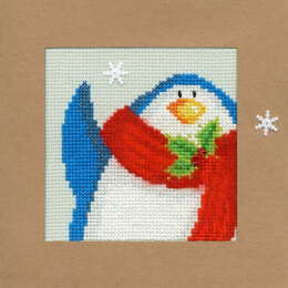 Bothy Threads Snowy Penguin Christmas Card Cross Stitch Kit - 10cm x 10cm