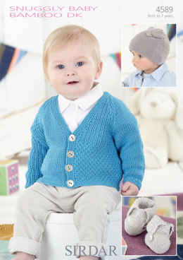 Boy's Cardigan, Hat and Bootees in Sirdar Snuggly Baby Bamboo DK - 4589