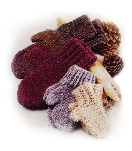Crochet Family of Mittens in Lion Brand Homespun - 10116-C
