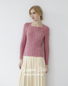 Leaf Stitch Jumper - Knitting Pattern For Women in Debbie Bliss Rialto 4ply
