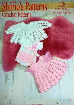 Crochet Pattern baby dress, jacket, vest & headband UK & USA terms #32