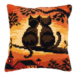 Vervaco Cats by Night Cushion Front Chunky Cross Stitch Kit