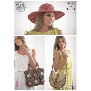 Crocheted Hat & Bags in King Cole Raffia - 4336 - Downloadable PDF