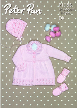 Coat, Bonnet and Mitts in Peter Pan DK - 1153