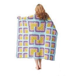 Mitered Granny Square Throw in Bernat Super Value - Downloadable PDF
