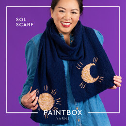 Sol Scarf - Free Scarf Knitting Pattern For Women in Paintbox Yarns Baby DK & Metallic DK by Paintbox Yarns