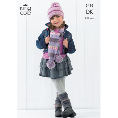 Scarves, Leg Warmers, Wrist Warmers, Mitts and Hat in King Cole Splash DK - 3426