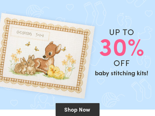 Up to 30 percent off baby stitching kits!