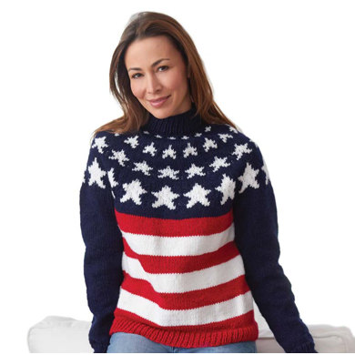 Stars and Stripes Pullover in Caron United - Downloadable PDF