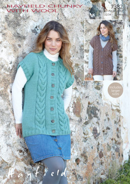 Gilets in Hayfield Chunky With Wool - 7382 - Downloadable PDF