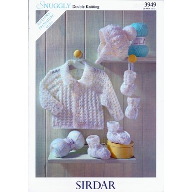 Jacket, Hat, Bootees & Mittens in Sirdar Snuggly DK - 3949