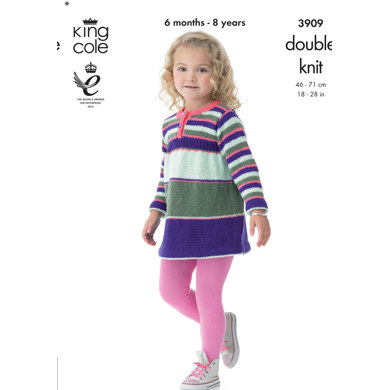 Girls' Dress and Cardigan in King Cole Big Value Baby DK - 3909