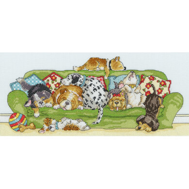 Bothy Threads Lazy Dogs Cross Stitch Kit - 36cm x 16cm
