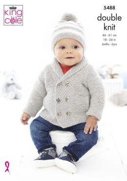 Children's Jacket, Sweater & Hats in King Cole Double Knit - 5488 - Leaflet