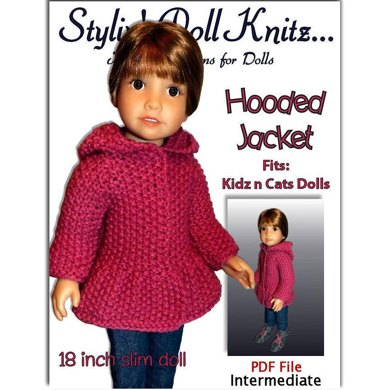 "Hooded Jacket for 18"" slim dolls including Kidz and Cats (knit)"