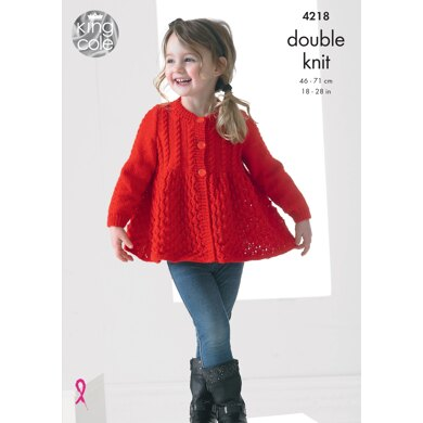 Girls Lace Cardigan and Sweater in King Cole Big Value Baby DK - 4218 - Downloadable PDF
