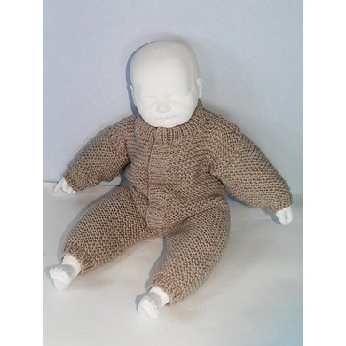 Baby Simple Aran Garter Stitch Onesie