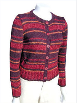 Recycled Stripes Cardigan in Knit One Crochet Too 2nd Time Cotton - 1428