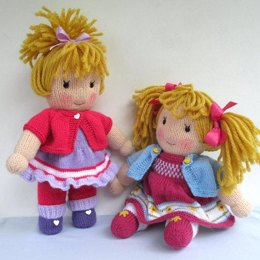 Jasmine and Violet - Knitted Dolls