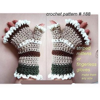 Knitting Patterns Striped Gloves : 188 STRIPED MITTENS OR FINGERLESS GLOVES, L serieS Crochet pattern by Emi Har...