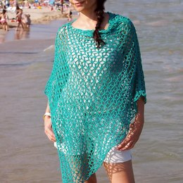 Diamond flower poncho - beach cover up
