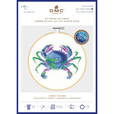 DMC Colourful Crab Cross Stitch Kit (with 7in hoop) - 7in