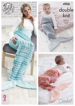 Mermaid Tail Blanket in King Cole DK - 4908 - Downloadable PDF
