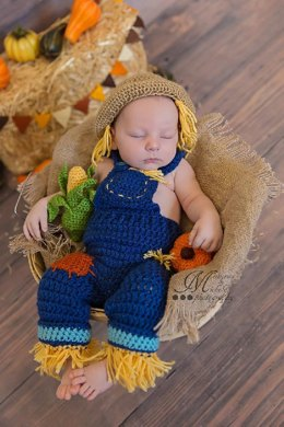Newborn Scarecrow Outfit with Corn and Pumpkin