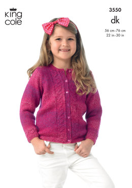 Girl's Cardigan and Jacket in King Cole DK - 3550