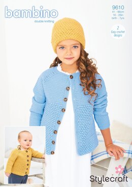 Crochet Cardigan and Hat in Stylecraft Bambino DK - 9610 - Downloadable PDF