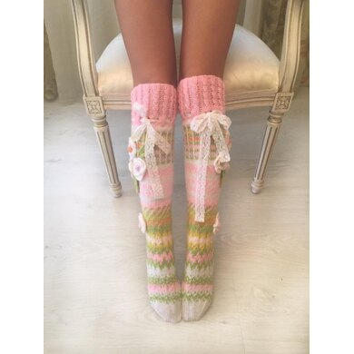 Pink socks with flowers