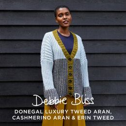 """ Nettie "" - Cardigan Knitting Pattern For Women in Debbie Bliss Donegal Luxury Tweed Aran by Debbie Bliss"