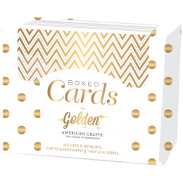 "American Crafts A2 Cards W/Envelopes (4.375""X5.75"") 40/Box - Golden - Gold Foil"