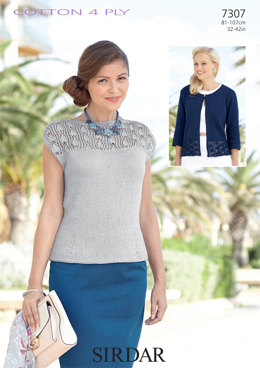 Top and Cardigan in Sirdar Cotton 4Ply - 7307 - Downloadable PDF