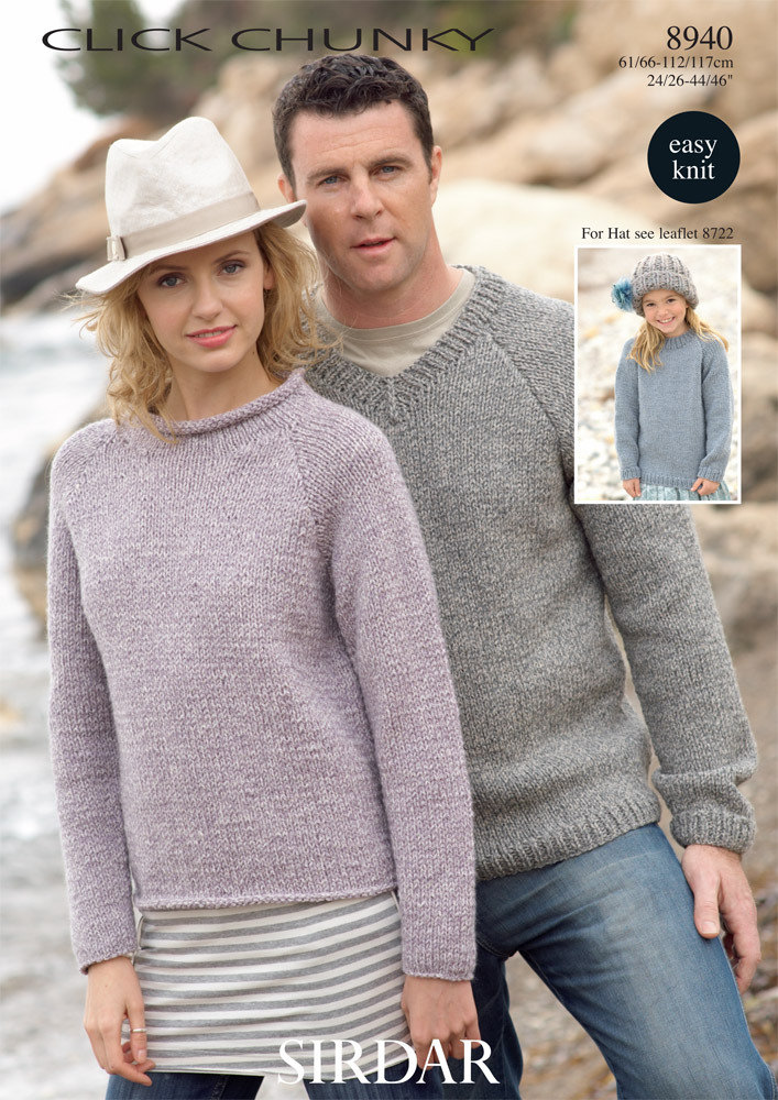 Round Neck And V Neck Sweaters In Sirdar Click Chunky 8940