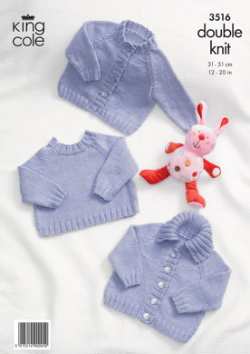 Simple Baby Cardigans and Sweaters in King Cole Cottonsoft DK - 3516