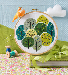Hawthorn Handmade Summer Trees Cross Stitch Kit - 16cm in diameter