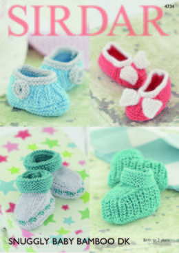 Bootees and Shoes in Sirdar Snuggly Baby Bamboo DK - 4734 - Downloadable PDF