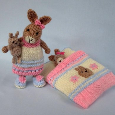 Bedtime Bunny And Sleeping Bag Knitted Rabbit Knitting Pattern By