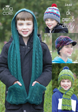 Boy's Hats, Scarf & Hooded Scarf in King Cole DK, Aran and Chunky - 3448
