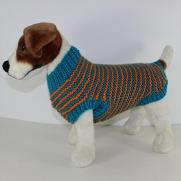 Chunky Stripe Garter Stitch Dog Coat