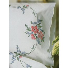 Tobin Stamped Pillowcase Pair 20in x 30in Wild Rose Emboidery Kit