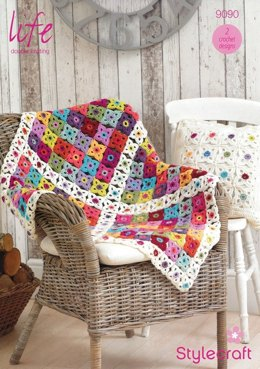 Blanket and Cushion Cover in Stylecraft Life DK - 9090