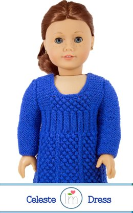 Celeste Dress for 18 inch dolls. Doll Clothes Knitting Pattern