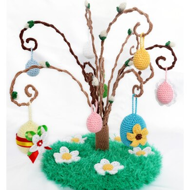 Crochet willow branch. Easter egg tree. Curly willow. Crochet pussy willow. Easter decoration